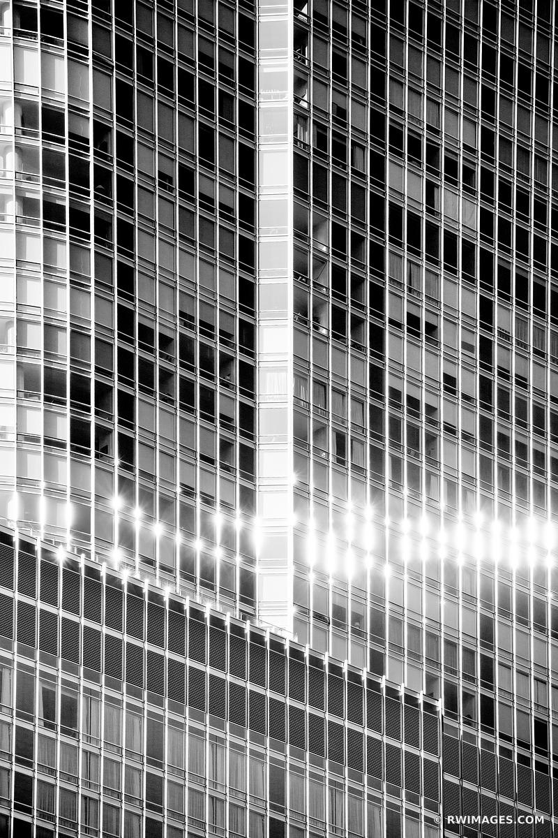 CHICAGO DOWNTOWN ARCHITECTURE ABSTRACT WINDOWS CHICAGO ILLINOIS BLACK AND WHITE VERTICAL
