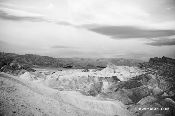ZABRISKIE POINT BEFORE SUNRISE DEATH VALLEY CALIFORNIA PINK DAWN BLACK AND WHITE