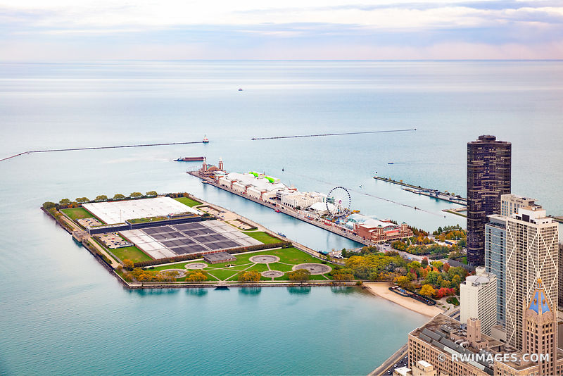NAVY PIER CHICAGO DOWNTOWN AERIAL VIEW CHICAGO ILLINOIS