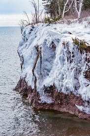 Ice on the Lake Superior Cliffs in Minnesota's Tettegouche State Park