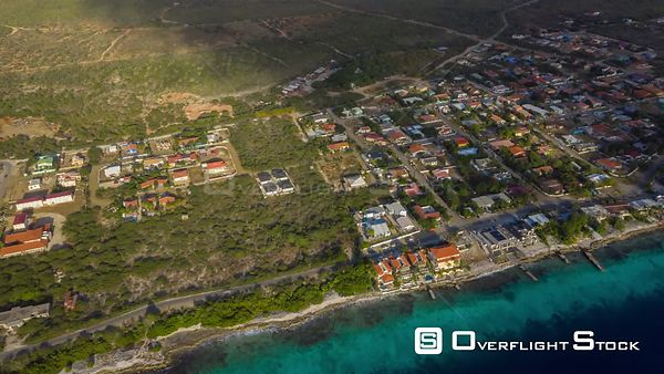Bonaire Caribbean Netherlands Aerial Birdseye hyperlapse of beach front landscape with houses