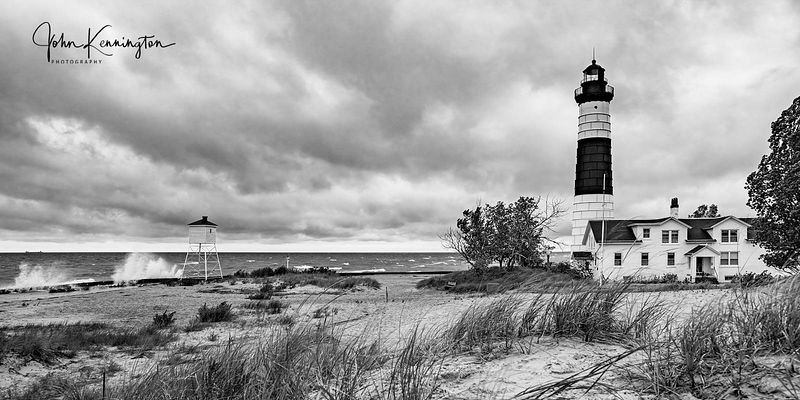 Big Sable Point Light Black & White Panoramic, Lake Michigan, Luddington, Michigan