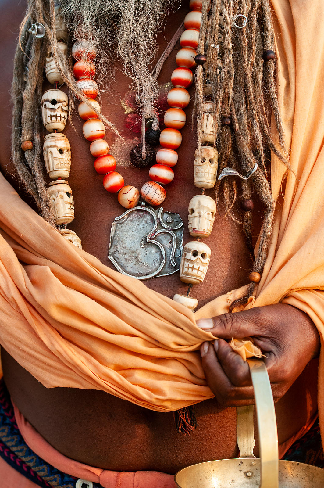 A close up of a saint during the Kumbh Mela was shot in Allahabad