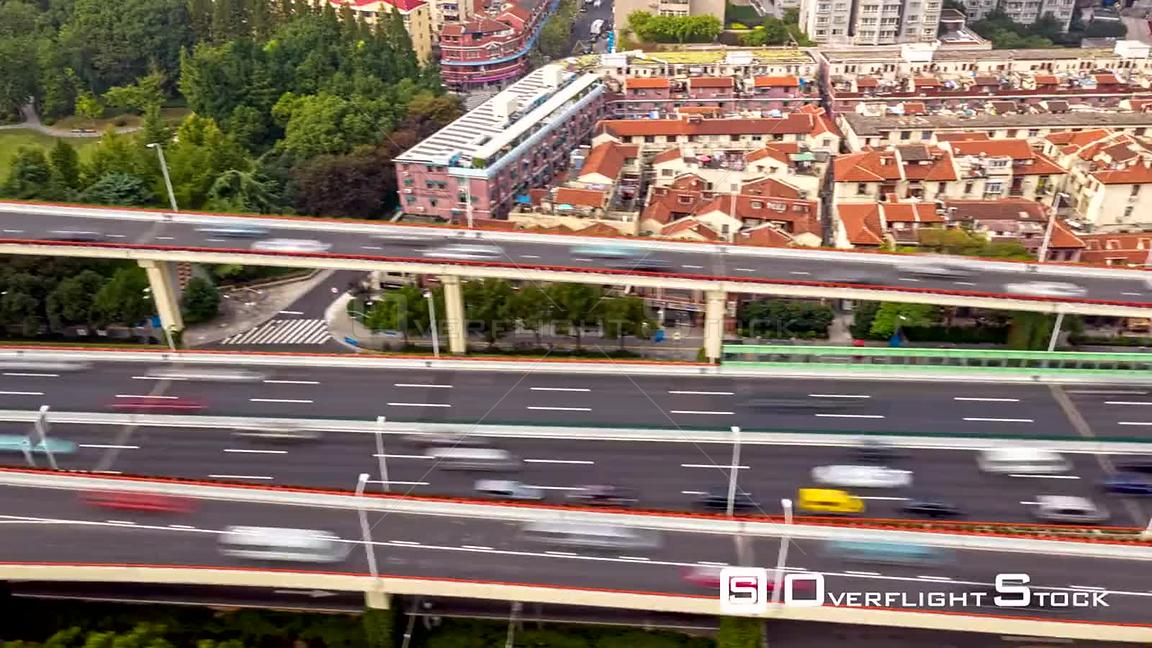 China Shanghai Aerial Hyperlapse detail moving along path of side of freeway