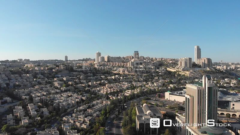 Drone Shot Above Malha in Southwest Jerusalem With Teddy Stadium and Holyland Neighborhood