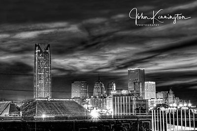 Oklahoma City Skyline Panoramic(BW)
