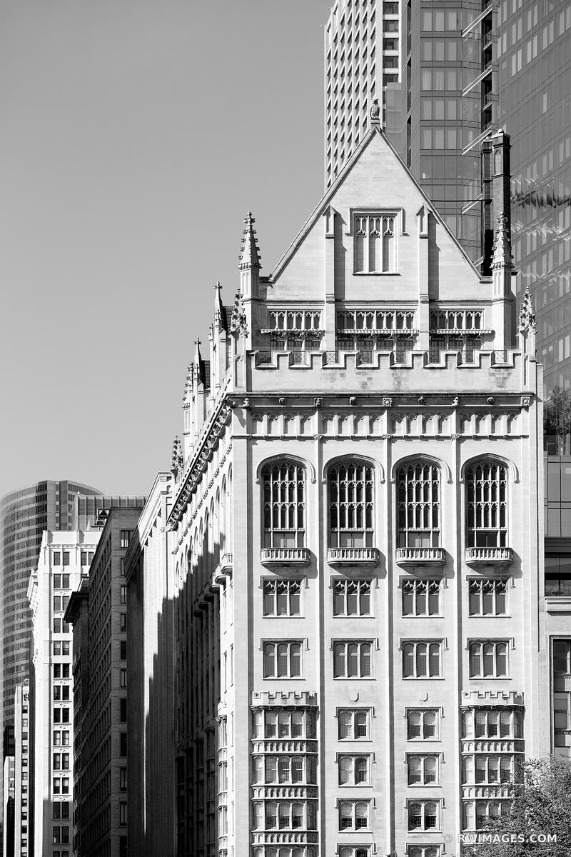 CHICAGO ARCHITECTURE COLLECTION | MICHIGAN AVENUE CHICAGO HISTORIC ARCHITECTURE CHICAGO ILLINOIS BLACK AND WHITE VERTICAL