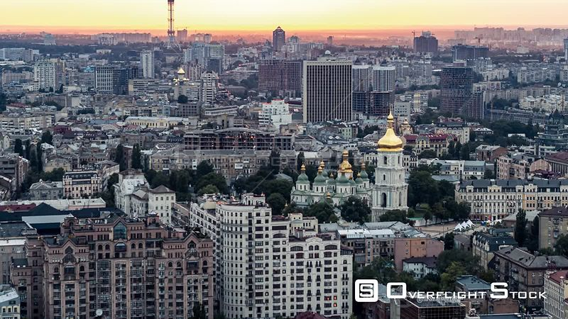 Drone Video Cityscape of Kiev Ukraine