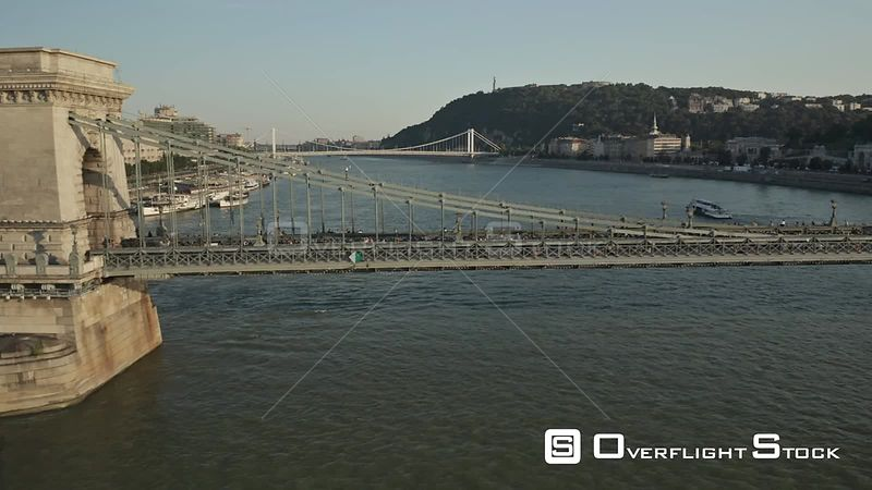 Aerial Drone Video of City Bridge Budapest Hungary