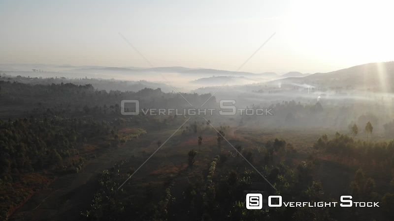Drone Video Foggy Rural Landscape Burundi East Africa