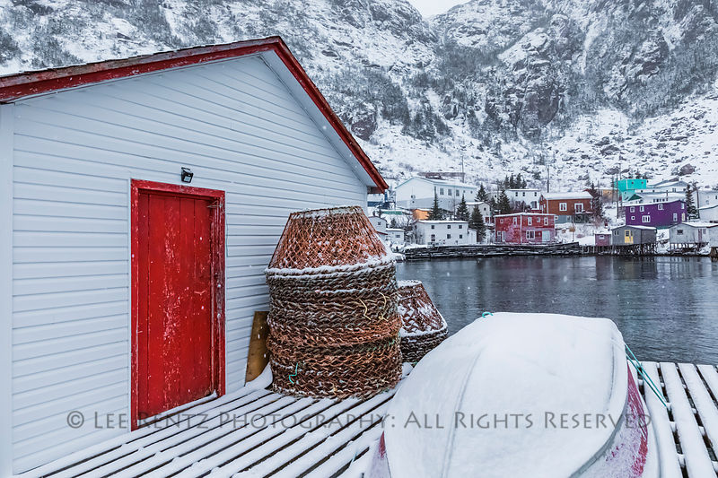 Crab pots and boat on a dock in Francois