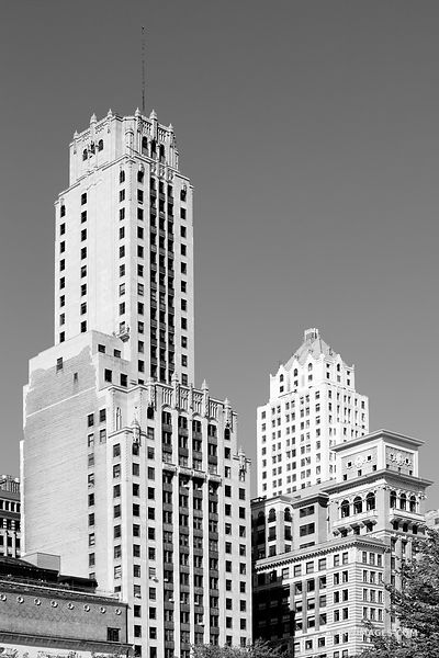 CHICAGO ARCHITECTURE COLLECTION | MICHIGAN AVENUE CHICAGO HISTORIC ARCHITECTURE CHICAGO ILLINOIS BLACK AND WHITE