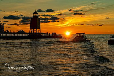 Charlevoix South Pier Light Station at Sunrise, Lake Michigan, Charlevoix, Michigan