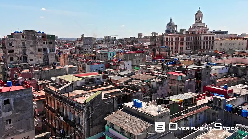 Cuba Havana Very low birdseye of colorful rooftop neighborhood view with Capitol dome in background