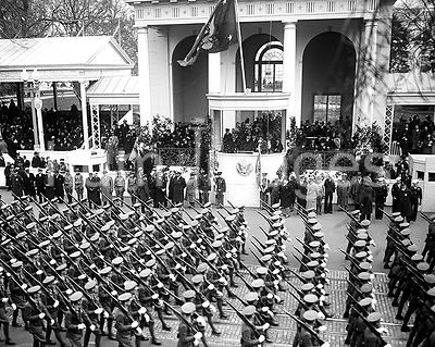 Franklin D. Roosevelt - Franklin D. Roosevelt inauguration. Parade and presidential viewing stand. Washington, D.C. ca. March...