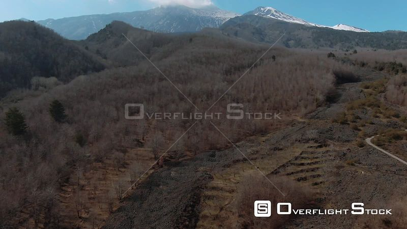 The Summit of Mount Etna to Lava Rock and Trees