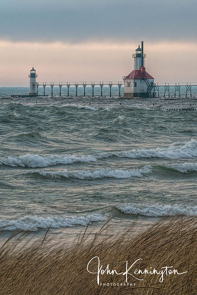 Rough Surf at St Joseph North Pier Light, Michigan