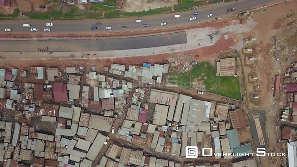 Top Down Aerial Video of a Slum in Kampala Uganda Africa