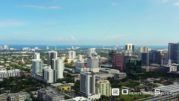 Aerial panning shot Downtown Fort Lauderdale FL USA
