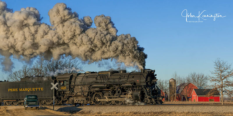 Pere Marquette #1225 Passing Farm Panoramic, Owosso, Michigan