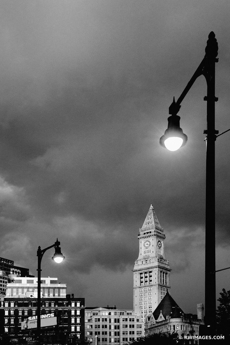 STORMY SKIES OVER BOSTON BLACK AND WHITE VERTICAL