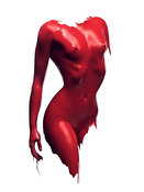 Woman body red paint