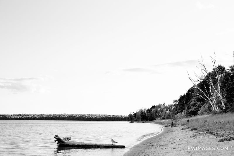 BEACH WASHINGTON ISLAND DOOR COUNTY WISCONSIN BLACK AND WHITE
