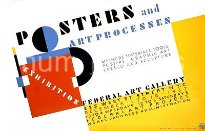 Posters and art processes Methods materials tools: Posters - graphic art fresco and sculpture ca. 1937
