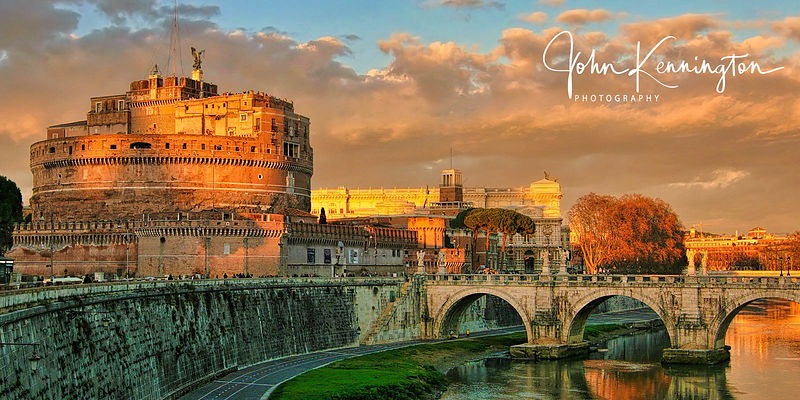 Castel Sant Angelo Sunset Panoramic, Rome, Italy
