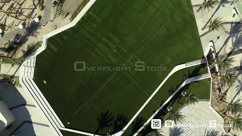Aerial Rising Over Green Park Field Florida