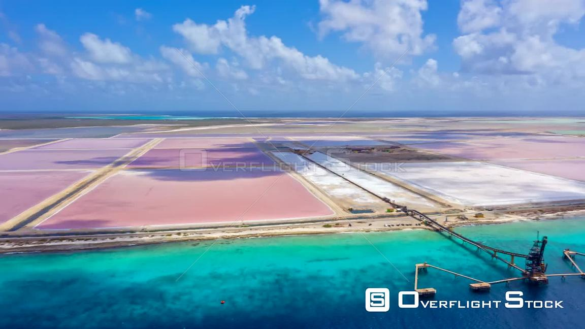 Bonaire Caribbean Netherlands Aerial Salt flats hyperlapse low to high traverse
