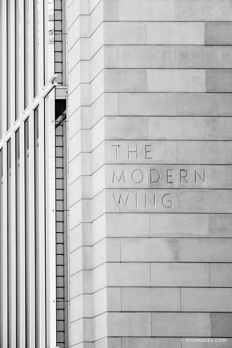 CHICAGO ARCHITECTURE COLLECTION | THE MODERN WING ART INSTITUTE BUILDING CHICAGO ILLINOIS BLACK AND WHITE VERTICAL