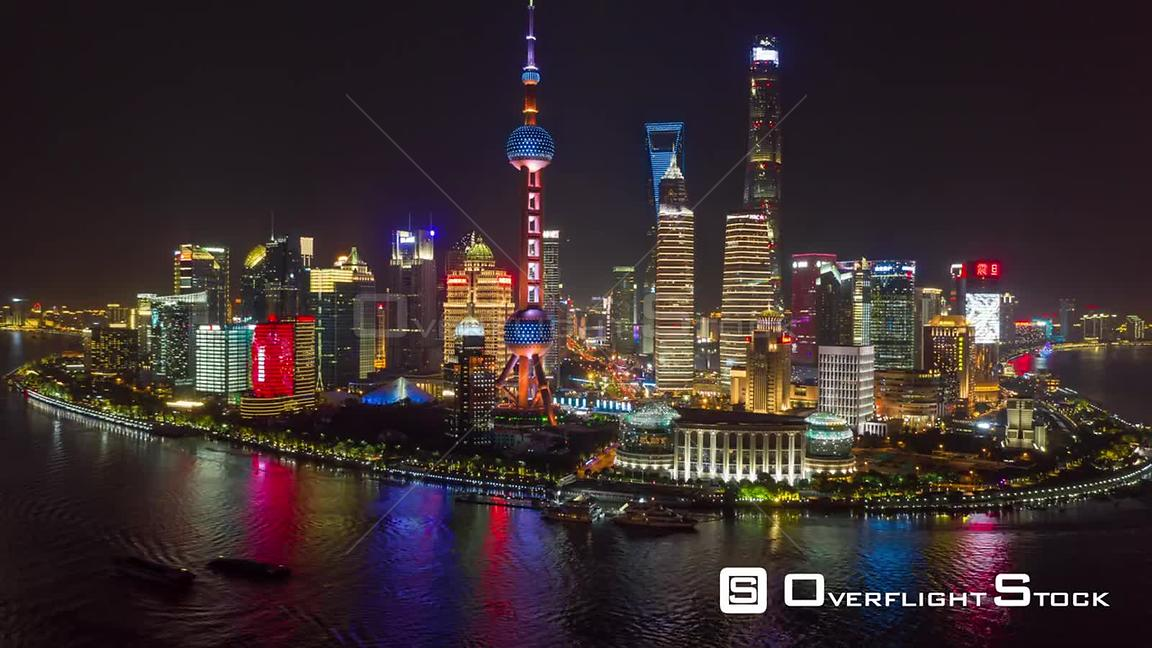 China Shanghai Aerial Hyperlapse at night, panning around landmark, financial district