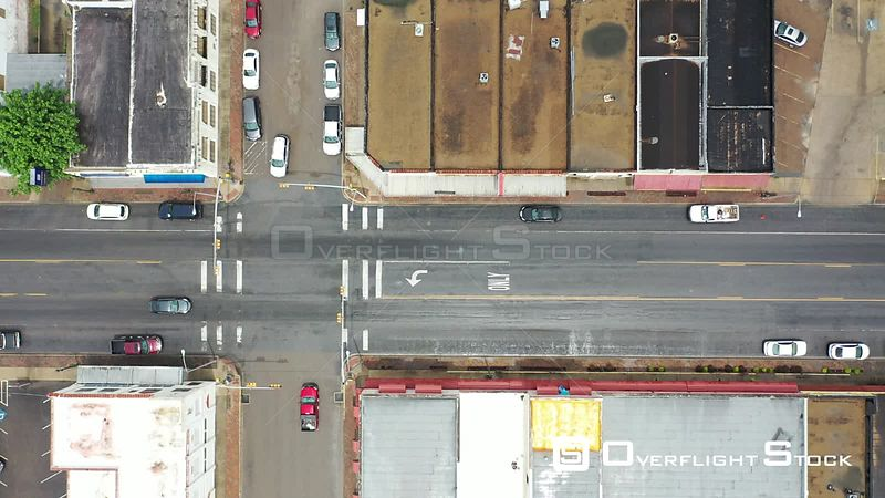 Descending flight over street intersection in downtown, La Feria, TX, USA