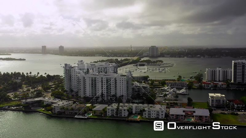 Moody Cloudy Sky Over City Aerial Drone Video Florida