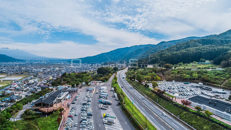 Drone shot of Kiso Mountains. Nagano Japan