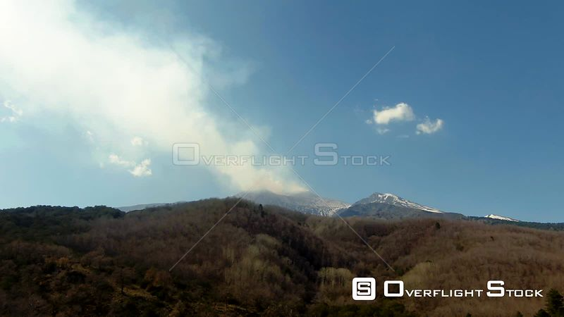 Mount Etna in Winter, Smoking During an Eruption