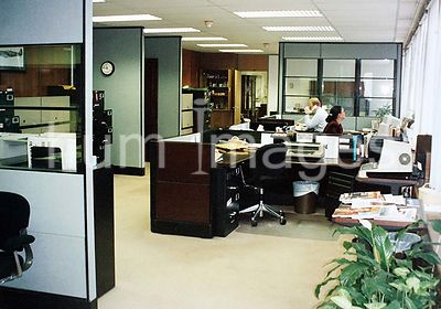 1991 - Interior of the  U.S. embassy and chancery complex in London, England -  office workers