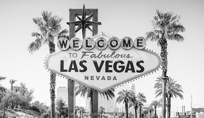 Las Vegas Welcome Sign High Resolution Black and White Photo