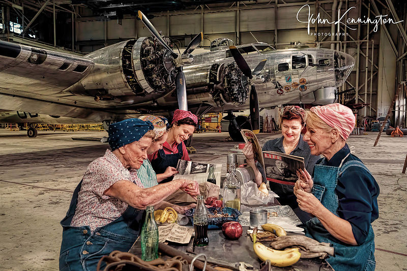 Rosie the Riveters at Lunch at the Willow Run Bomber Plant No. 2, Belleville, Michigan