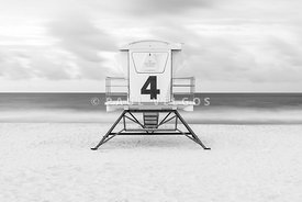 Pensacola Beach Lifeguard Tower Four Black and White Photo