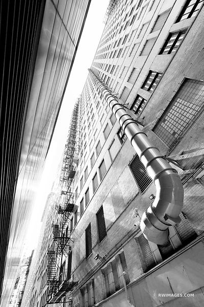 CHICAGO INDUSTRIAL COLLECTION | CHICAGO DOWNTOWN ALLEY FIRE ESCAPE CHICAGO ILLINOIS BLACK AND WHITE VERTICAL
