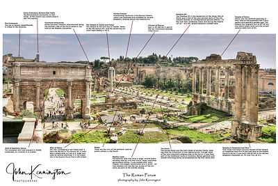 Roman Forum Panoramic with Annotations, Rome, Italy