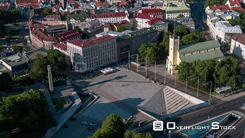 Drone Video Cityscape Tallinn Estonia