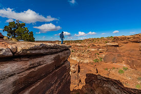 Man on Edge in Canyonlands National Park