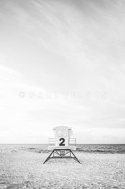 Pensacola Beach Lifeguard Tower Two Black and White Picture