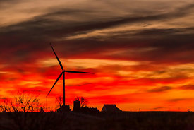 Wind Machine and Farmstead at Sunrise