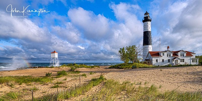 Big Sable Point Light Morning Panoramic, Lake Michigan, Luddington, Michigan