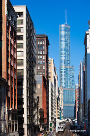 CHICAGO DOWNTOWN ARCHITECTURE TRUMP TOWER AND EL TRAIN TRACKS CHICAGO ILLINOIS COLOR VERTICAL