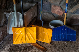 Snow Shovels at Steel Visitor Center in Crater Lake National Park in Oregon